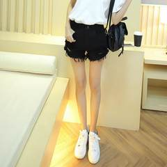 Flash of white denim shorts female summer thin waist big wide leg loose A shaped hole Reku student code XXXL 145-160 Jin black