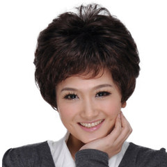 Mother, middle-aged and elderly wigs, short hair, women's wigs, middle-aged mother special package mail Peach red