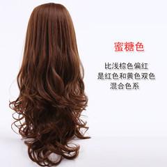 Simulation hair wig, female long hair, big waves in the Qi, bangs, fluffy, natural, realistic long hair Honey color