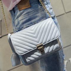 2016 new handbag bag lock small fashion shoulder bag sewing thread chain bag Xiekua package bag Sky blue