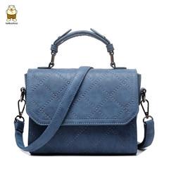 2017 new scrub Spiraea Lingge diagonal square handbag shoulder bag bag handbag Crossbody Ms. Korean tide Dark grey