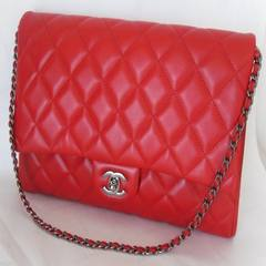 Authentic Chanel, bright silver chain, red, red sheep, classic envelope, female bag, handbag, medium, CF