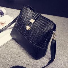 2017 new Korean Mini woven bag shell bag small bag lady all-match Shoulder Bag Messenger Bag woman bag Black Large can hold umbrella