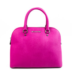 The United States Michael Kors purchasing genuine cross embossed leather shell bag MK Messenger Shoulder Bag Handbag Rose red