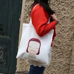 Canvas bag shoulder schoolbag simple cartoon singles portable shopping bag Korea South Korea Fashion Handbag Bag mail black