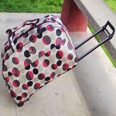 Korean fish family waterproof rod bag, luggage bag, retro travel bag, pull case, large capacity men and women 12 inch Coffee