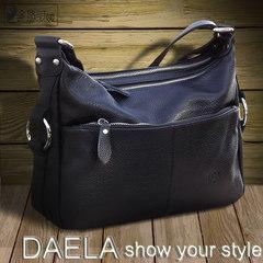 Female female Leather Satchel Bag 2017 new old mother middle-aged female bag backpack shoulder Xiaochan black