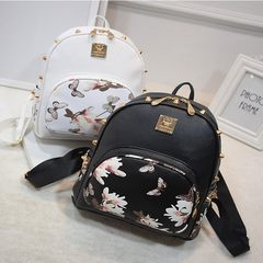 Fashion bag PU Leather Backpack School wind rivet jet printing Rose Butterfly double back mail bag A model of fashion