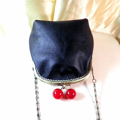 [red] pure handmade leather first layer of leather with gold finished bag Dou (custom) black