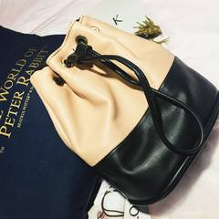 New handbag shoulder bag bucket bag 2017 hot all-match bare Black Leather bucket bag Double Shoulder Messenger Bag Nude black