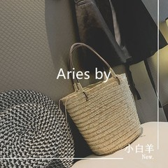 Aries [] straw bucket bag 2017 new beach holiday basket woven bag ins bag bag Map color
