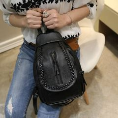 Korean tide new 2016 spring and summer washing leather, small knitting, mini rivet, shoulder bag, female backpack, oblique chest, chest bag dual-use Paragraph three
