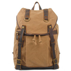 European and American retro canvas with Crazy Horse Leather Backpack British college men bag fashion leisure travel bag Dark Khaki