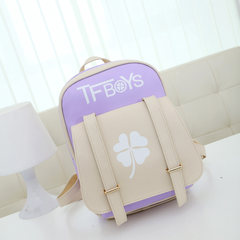 Tfboys Bag Backpack luminous source king Wang Junkai with student s casual leather small fresh female violet