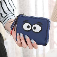Pocket money, small purse, short female character, mini cartoon, cute Korean leather student, Korean version, zero wallet Royal Blue