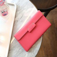 South Korea Monopoly elegant long hasp solid wallet women hand money clip multi Card Leather Wallet Watermelon Red