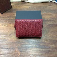 Lorna LOLA export Italy fashion long handmade genuine sheepskin woven zipper female hand Wallet Claret