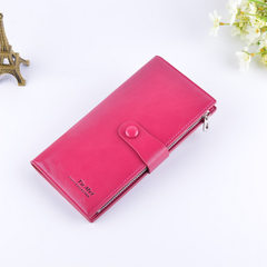 Small summer shops. The new Korean oil wax ms.man Long Wallet multi card Thin Wallet / Purse lovers Red