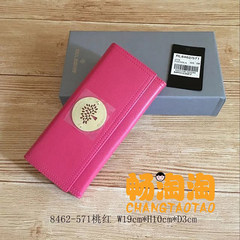 A new tree head, layer of leather plating, hardware, ladies long wallet, British fashion leisure Women's wallet Pink