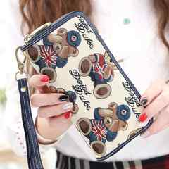 The lady next door, Ms. purse, 2017 new women's Day Korean version of the zipper, multi function, long, large capacity New rosewood world white