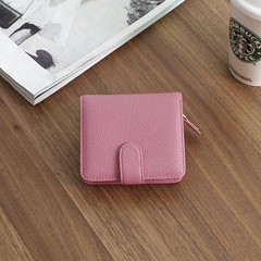 2016, new Europe and America simple square wallet, ladies short leather small wallet, zipper, zero wallet, Mini Wallet Sakura Pink