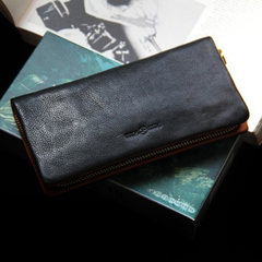 Summer is not for profit 2017 male long leather wallet card bills South Korea version leather zipper clip hand bag black