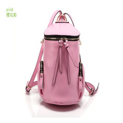 2015 new Korean fashion handbags candy color leather bag bag leather bucket single shoulder Backpack Pink