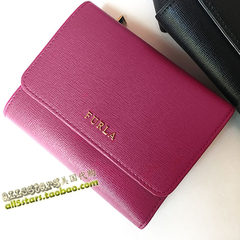 FURLA FURLA FURLA cross-stitch genuine leather 30% discount purse notes Italian leather purplish red, Shanghai, USA