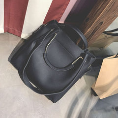 2017 new handbag fashion handbag simple all-match Bucket Bag Satchel Bag bag black