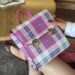 Shoulder bag, 2017 Korean version, new female bag, leisure buckle, dual use, single shoulder, shoulder shoulder, Mini Backpack tide Pink