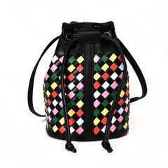 2017 new female Korean personality Mini bucket bag simple all-match drawstring Satchel Bag weaving Color grid