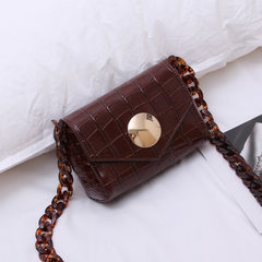 Female bag 2017 summer mini small crocodile bag resin chain bag all-match Simple Shoulder Satchel brown