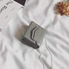 2017 show with a spring tide Mini Bag Korean fashion chain Single Shoulder Bag Messenger Bag Square bright silver