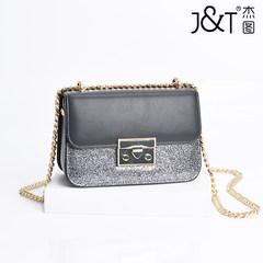 Djetou leather star chain bag 2017 female Mini nude Leather Handbag Shoulder Bag Messenger Bag black