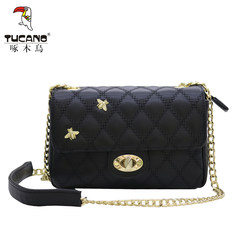 Woodpecker handbags small bag 2017 new fashion chain Lingge package's shoulder bag TBK0712-31 Trumpet black 0711