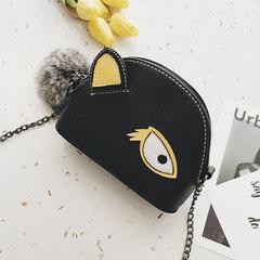 Small bag female 2017 summer new fashion splicing shell bag, adorable sprout Mini chain bag, single shoulder oblique Satchel black