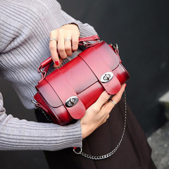 Korean version of the new chain, chain lock, ladies handbag, shoulder bag, bump, color, Boston bag tide gules