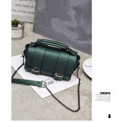 2017 new Boston Korea retro Bag Handbag Shoulder Bag Mini chain lock cylinder small bag Blackish green