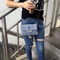 2017 New Bronze Metal Mini Small Shoulder Bag Crossbody handbag chain Korean female bag Royal Blue