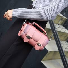 Korean retro Boston chain bag handbag cylinder lock Satchel Shoulder mini bag bag Pink