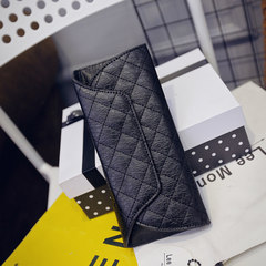 New fashion, simple fashion, Japan and South Korea, dark suction buckle, long wallet, women's hand, trolley, stitching, square cards, bags, zero wallet black