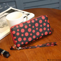 Ladies purse, Japan and Korea, fresh waves, dots, long wallets, women's zippers, hand bags, large bills, zero wallets Black and red
