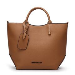 欧美2017新款复古手掌纹水桶包女包时尚女士手提包单肩斜挎包大包 棕色(现货)