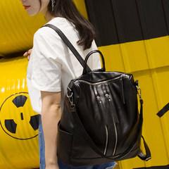 The new black shoulder bag lady soft PU bag 2017 Korean all-match leisure travel backpack diaper bag
