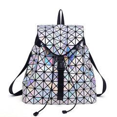 Japan and South Korea 2017 summer new folding bag bag bag variety laser geometric Lingge Shoulder Bag Handbag Bag Laser Silver