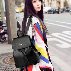 Backpack backpack bag lady mummy 2017 new female Korean fashion leather PU bag all-match simple tide Default rhyme, STO