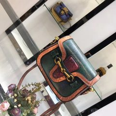2017 New Retro snake hit saddle color tide Fashion Shoulder Bag Messenger Bag Green orange