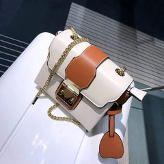 Summer personality lock chain bag 2017 new handbag fashion color small shoulder bag Crossbody Bag Rice white with brown