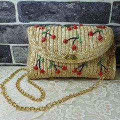 2017 new small chili cherry chain rattan bag straw bag Bohemia Sen female woven bag beach bag Cherry section