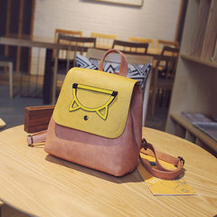 2017 new backpack bag Korean tide hit color are small fresh Pu College Student Backpack Bag Leather wind